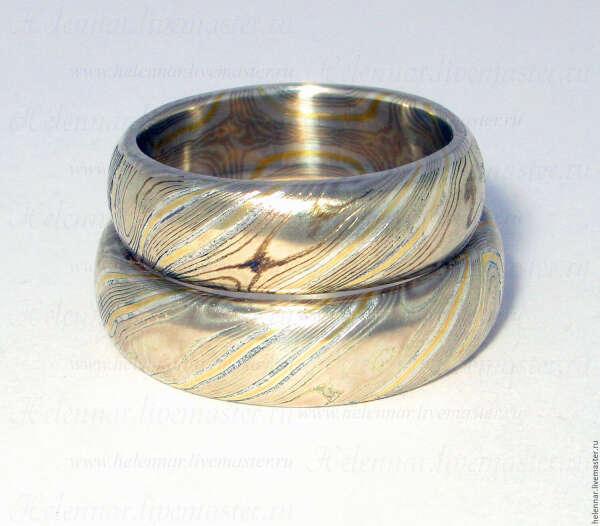 Кольцо в японской технике Мокуме Гане