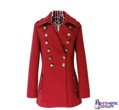 Пальто двубортное красное