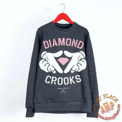 Серая толстовка-свитшот Diamond Crooks