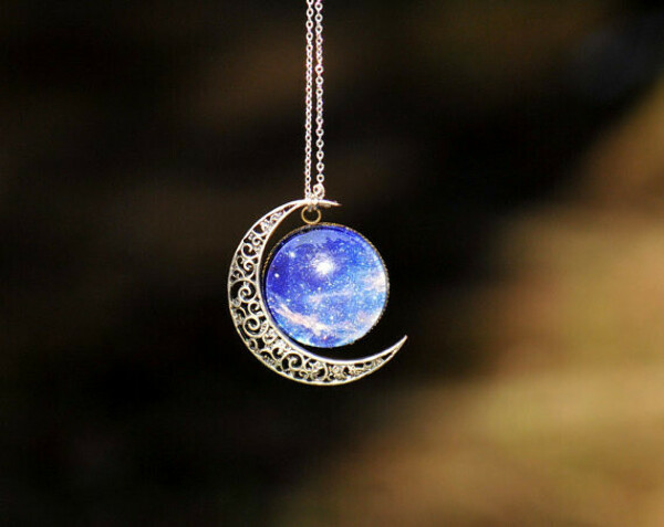 Moon necklace ,Charm necklace,Silver hollow star galactic cosmic moon necklace