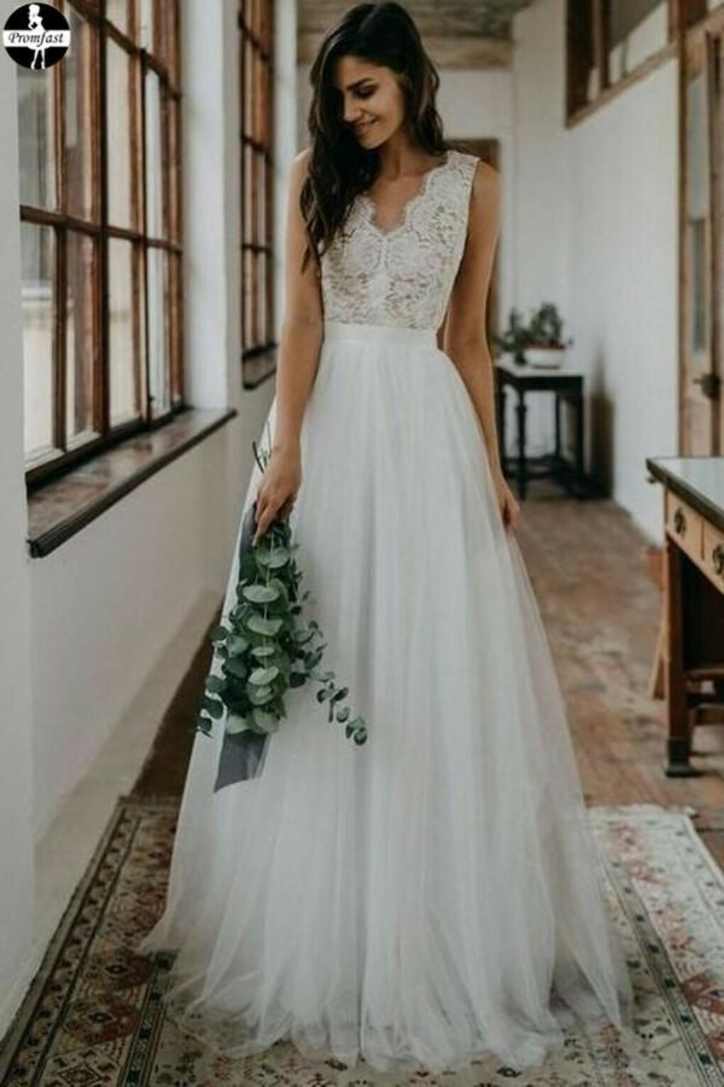 Promfast Simple White Tulle Lace A line V neck Open Back Beach Wedding Dresses PFW0540