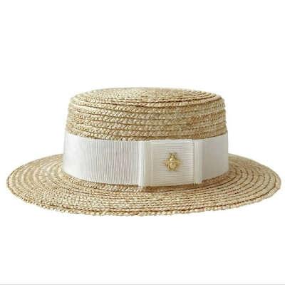 Шляпа канотье со светлой тканью