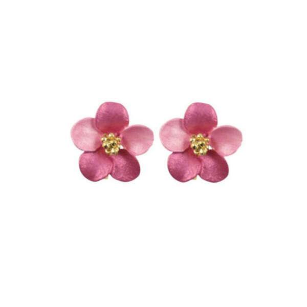 Anemone Fuchsia Pink Enamel Gold Tone Clip On Earrings