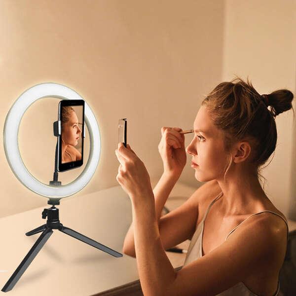 кольцевая лампа с подставкой для телефона