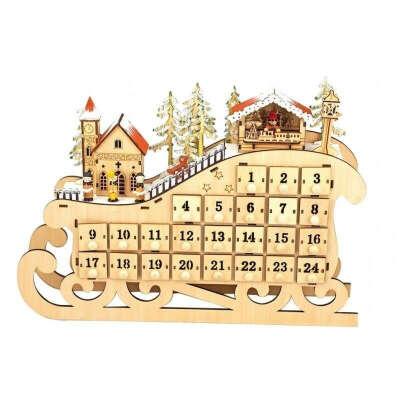 Деревянный календарь для подарков Advent Calendar Music Box 56096
