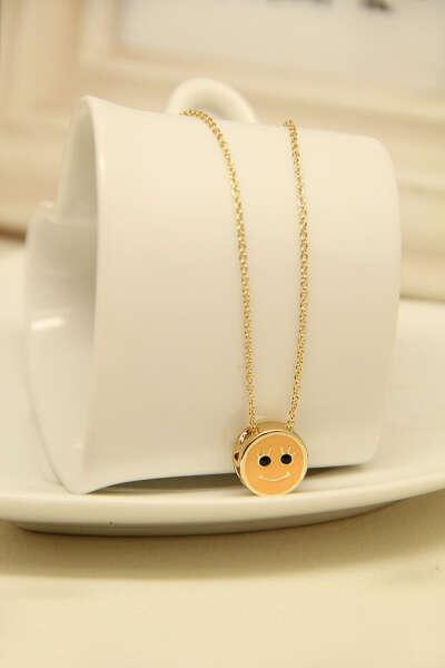 Gold Smiley Round Necklace - Sheinside.com