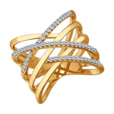 Кольцо из золочёного серебра с фианитами арт. 93010576