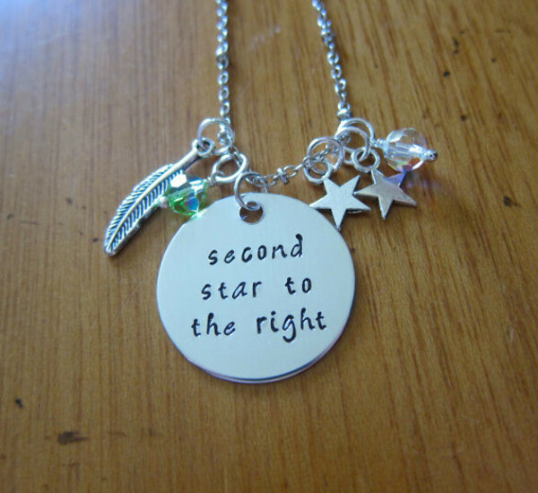 """Peter Pan Inspired Necklace. Peter Pan """"Second Star To The Right""""."""