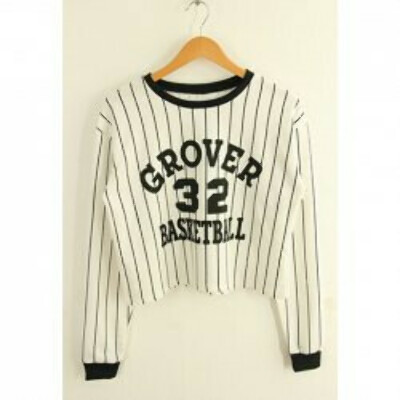 Stripe Letter Print Color Block Cotton Blend Casual Style Long Sleeves Sweatshirt For Women