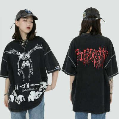Футболка в стиле Харадзюку, уличная одежда в стиле хип-хоп, летняя свободная хлопковая футболка с коротким рукавом с надписью «Japanese Death длинная Манга»   Мужская одежда   АлиЭкспресс