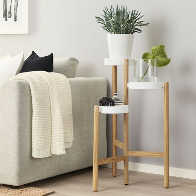 САТСУМАС Пьедестал для цветов - бамбук, белый - IKEA