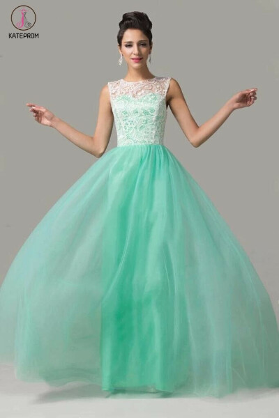 Cap Sleeves Mint Green Lace Long Prom Dresses KPP0037