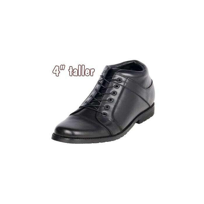 "4"" Height Increasing Cap Toe Semi Dress Leather Shoe, CYD202"