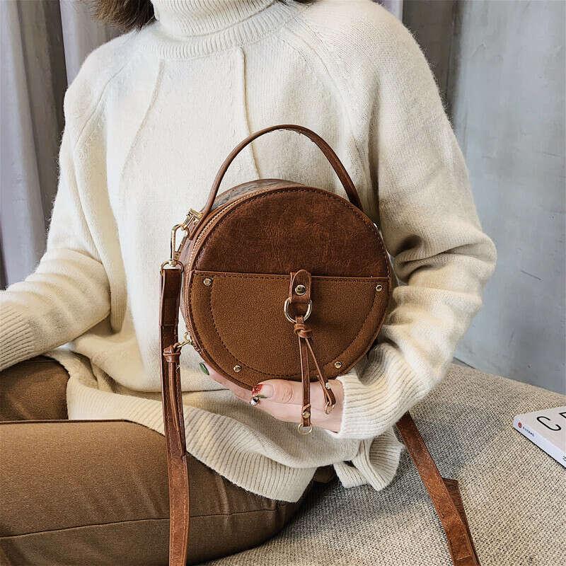 Винтажная маленькая круглая сумка