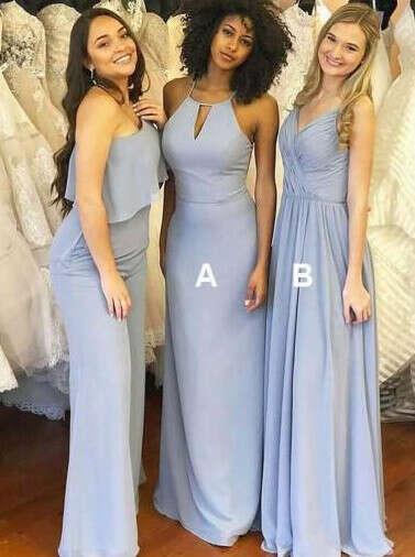 Dusty Blue Mismatched Long Chiffon Cheap Bridesmaid Dresses Online, WG279