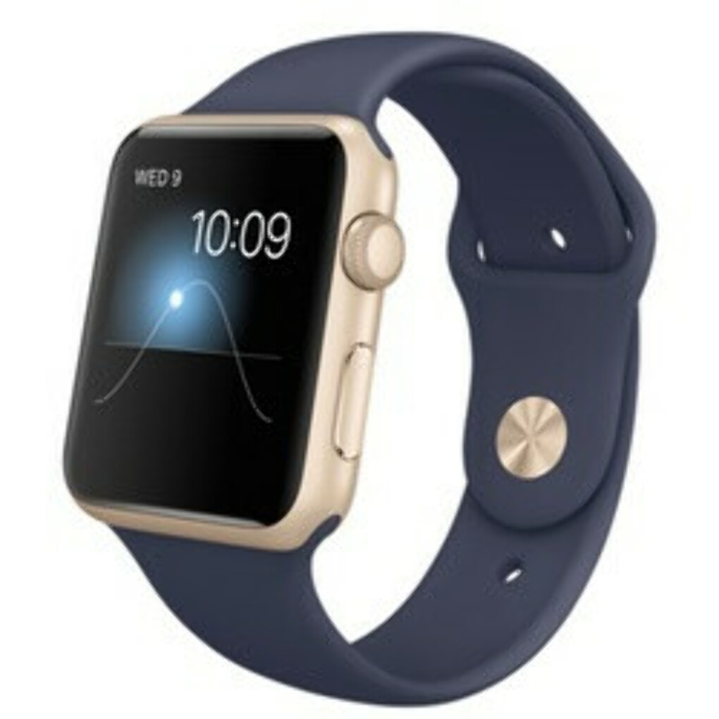 Умные часы Apple Watch Sport 42mm Gold Aluminum Case with Midnight Blue Sport Band MLC72