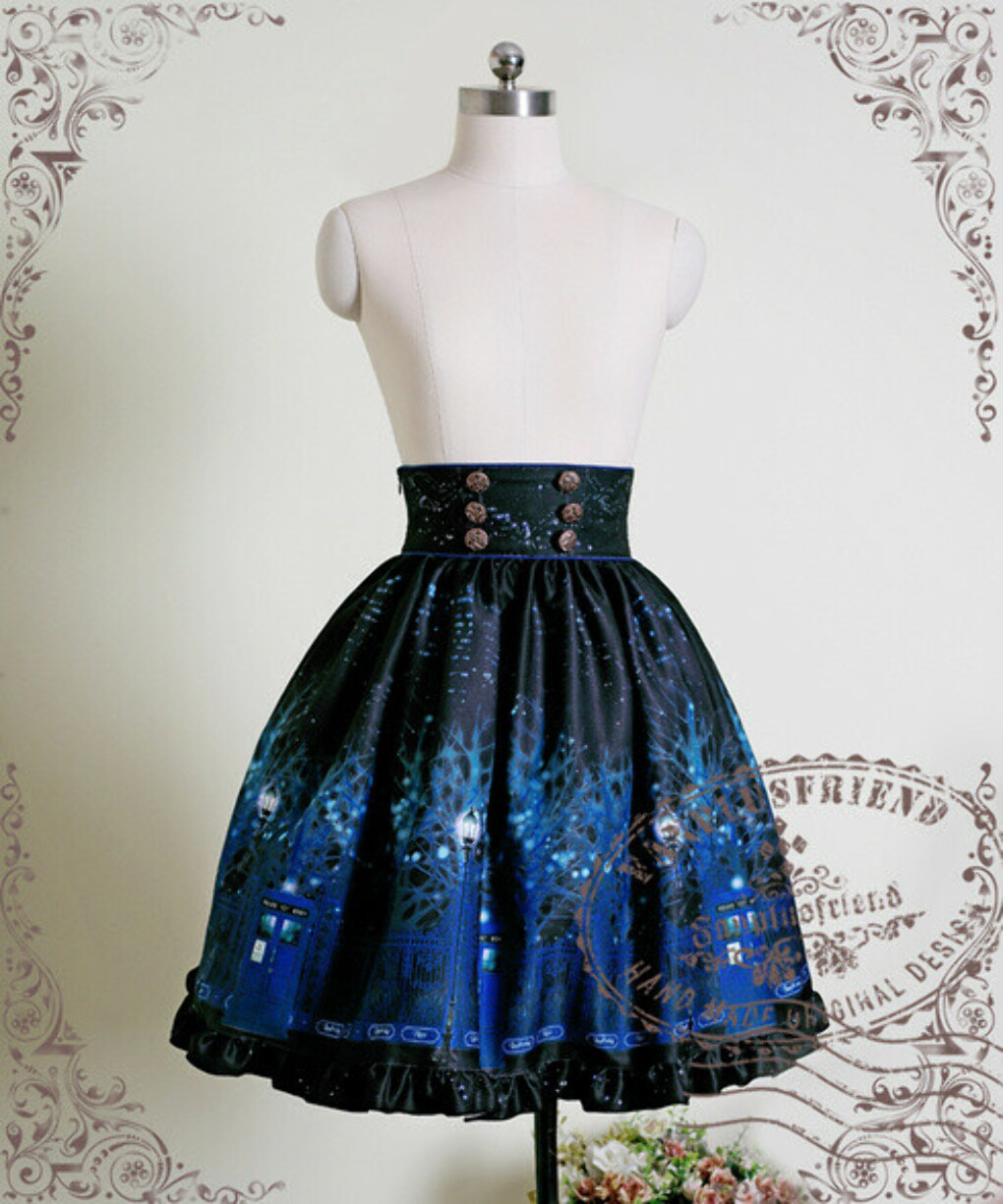 Time Lord, Cyber Gothic High Waist Skirt*2colors Instant Shipping