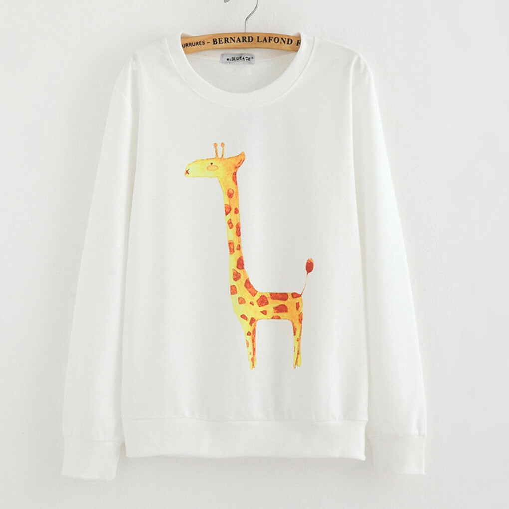 2015 New Brand Hoody women Casual hoodies giraffe print fleece inside long sleeve o neck letters sweatshirt for women B2 купить в магазине bunny xie fashion items store на AliExpress