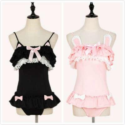 Japanese cute black kitty ruffle 1 piece swimsuit