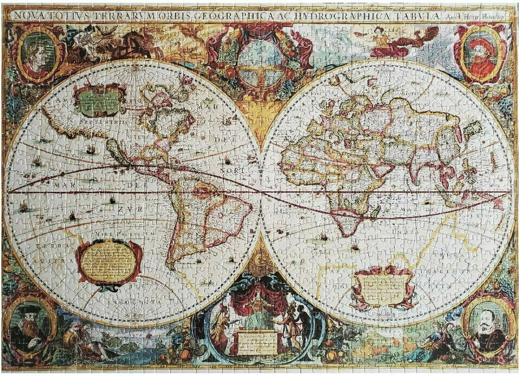 """LMC Products Hard Puzzles for Adults and Difficult Puzzles for Adults - Old World Map - Jigsaw Puzzles 1000 Pieces for Adults - 27.5"""" x 19.5"""""""