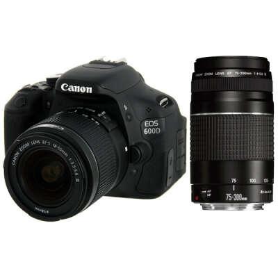 Фотоаппарат зеркальный Canon EOS 600D Kit 18-55 DC + 75-300 DC Black