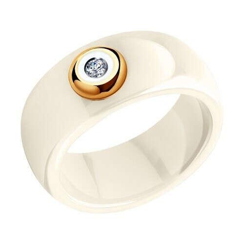 Керамическое кольцо с золотом и бриллиантом арт. 6015016 от SOKOLOV