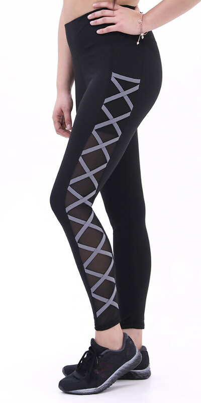 High Waisted Black&Charcoal Tight Criss-Crossing Side-Mesh Panel