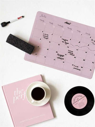 Магнитный планер-календарь с поверхностью пиши-стирай PlanPad Dusty Rose