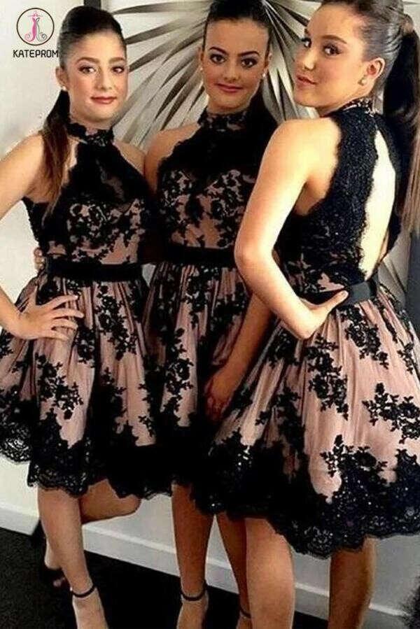 A-line Open Back High Neck Tulle Short Appliques Black Lace Latest Bridesmaid Dresses KPB0022