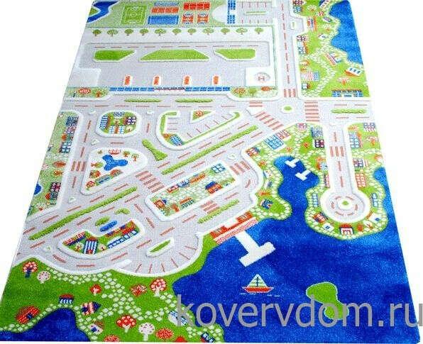 Детский развивающий игровой рельефный 3D ковер Городок арт.150Х220