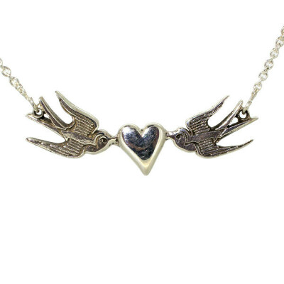 Small Heart and Swallows Sterling Silver Necklace