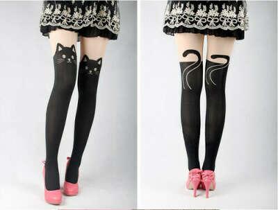 Sexy Cat Angel Tattoo Socks Sheer Pantyhose Mock Stockings Tights Leggings   eBay