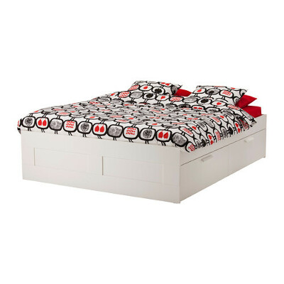 БРИМНЭСКаркас кровати с ящиками, белый,140x200 см