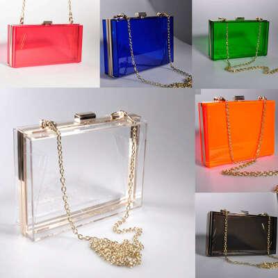 Newly Women Clear Transparent Acrylic Perspex Clutch Evening Bag Purse Handbag