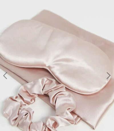 Пудрово-розовый атласный набор для сна Kitsch
