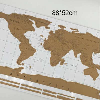 Скретч карта мира (Коричневая на белом)