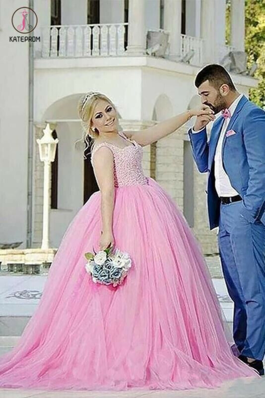Princess Pink Ball Gown Sweetheart Beading Tulle Plus Size Sweep Train Prom Dresses KPP0308