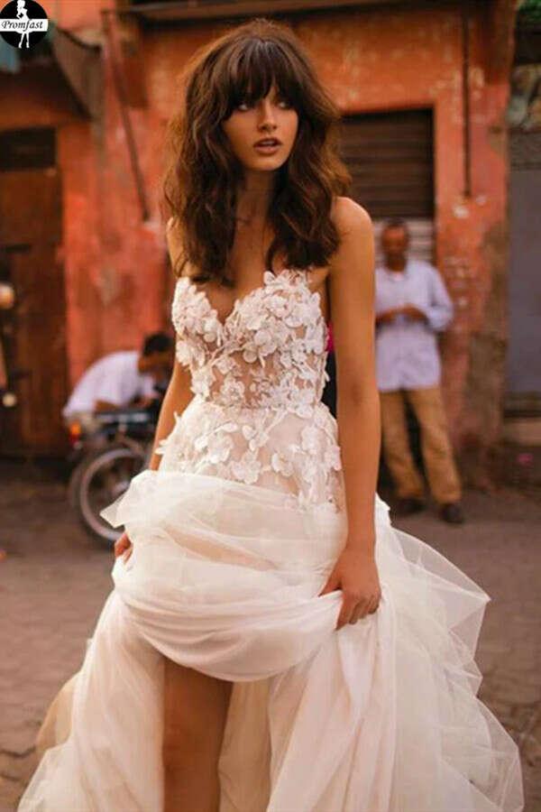 Promfast A-line Spaghetti Straps Applique Gorgeous Wedding Dress Sweep/Brush Train Modest Bride Gowns PFW0521
