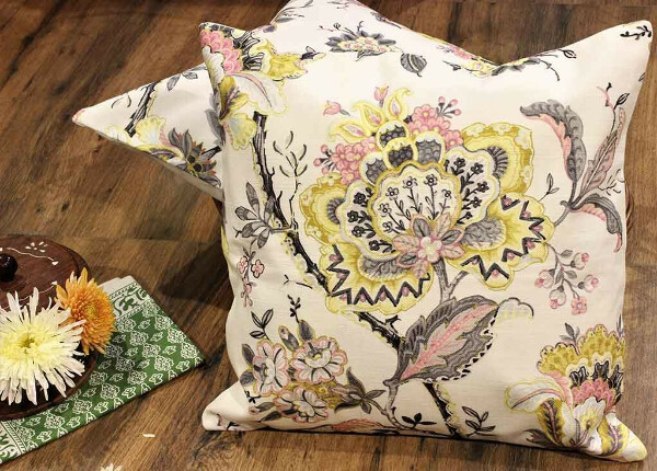 Soft Ornamental Florals Off white Cotton Cushion Covers – Set of 2