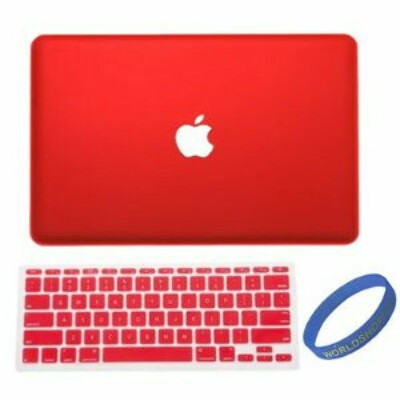 """Worldshopping Red Frost Matte Surface Rubberized Hard Shell Case Cover With Silicone Skin Protective Keyboard Film Cover For Macbook Air 13"""" 13.3"""" A1369 & A1466 + Free Accessory"""