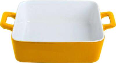 """Противень керамический Frank Moller """"Lydia"""", цвет: желтый, белый, 21 х 16 х 5,8 см"""