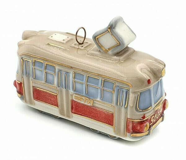 Ёлочная игрушка Трамвай Фарфоровая Мануфактура