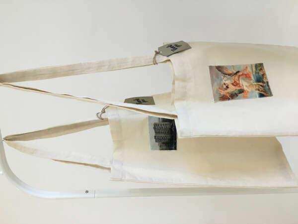 Тканевая светлая сумк-шоппер