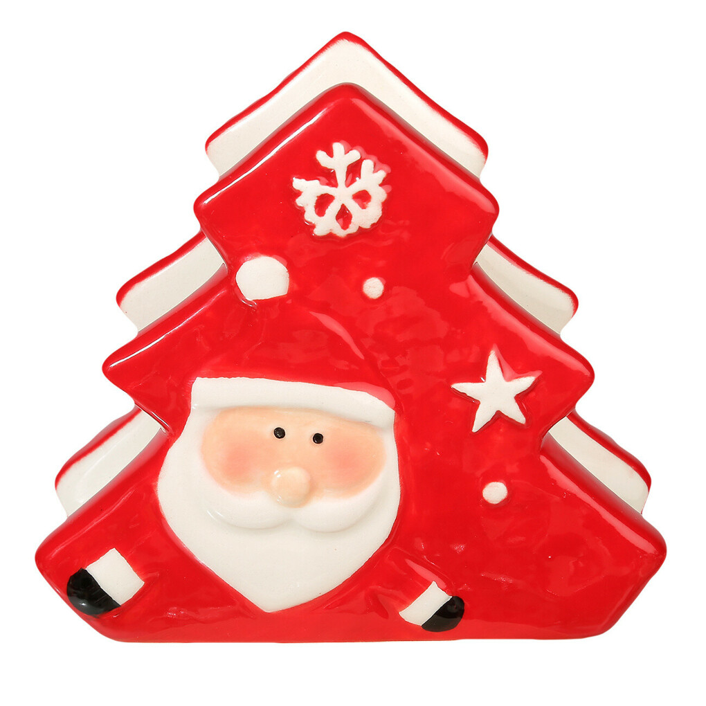 (S)(НГ)Салфетница, 9,5 см, керамика, красная, Елка и Санта, Подарки Санты