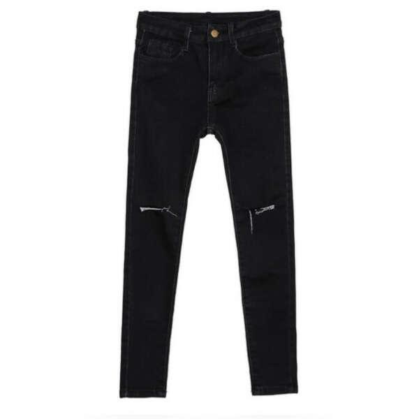 черные джинсы с разрезами