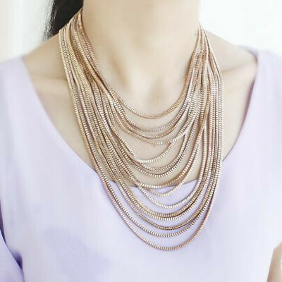 Золото многослойная цепь ожерелье