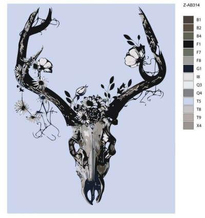 """Картина по номерам на холсте """"Чёрно-белый череп с цветами"""""""