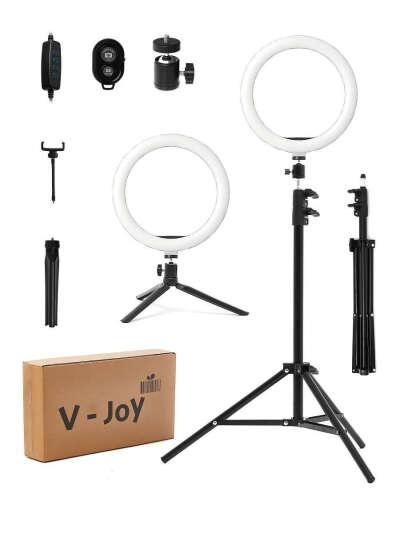 Кольцевая лампа 26 см версия 2.0 с двумя штативами и пультом для селфи V-joy 13383379 в интернет-магазине Wildberries