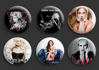 Lady Gaga Pinback Buttons Pins Badges