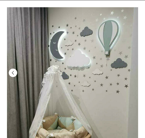 Светильник в детскую (месяц, облако, воздушный шар бирюзовый)